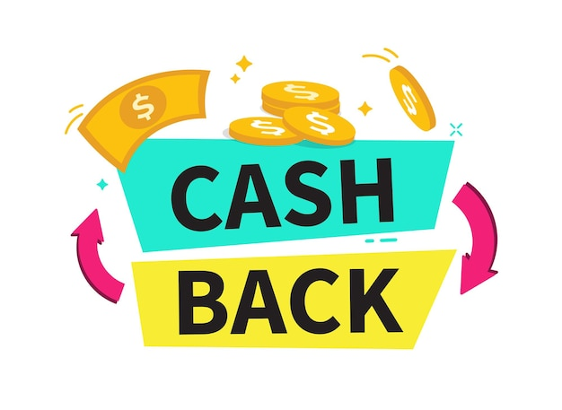 Banner de reembolso cashback ou etiqueta de reembolso de dinheiro programa de parceiros de compras online