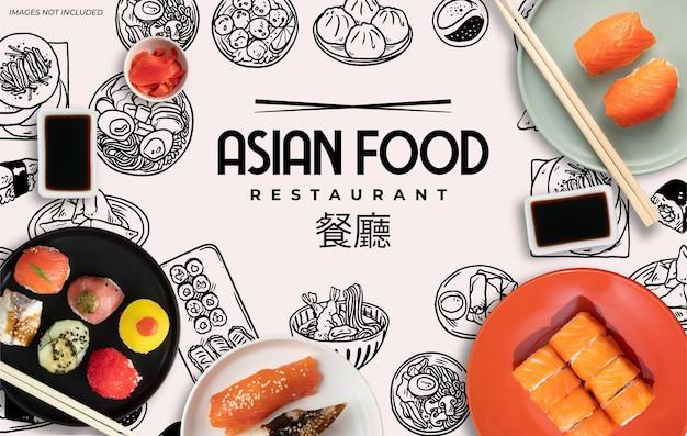 Banner de restaurante de comida asiática com rabiscos em preto e branco