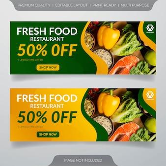 Banner de restaurante de comida fresca