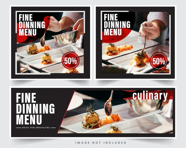 Banner de restaurante de design para redes sociais, modelo de publicidade