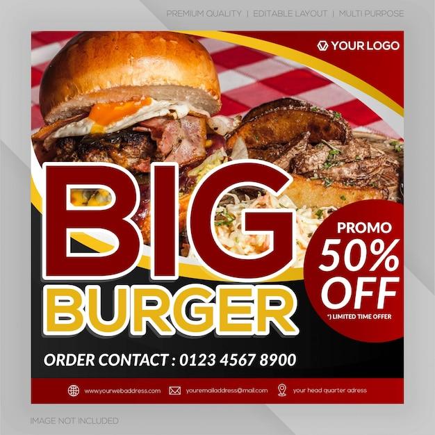 Banner de restaurante de hambúrguer