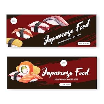 Banner de restaurante de sushi