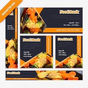 Banner de restaurante web definido para banco de alimentos