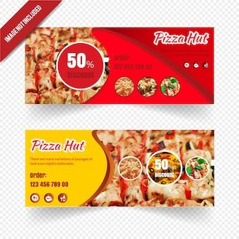 Banner de restaurante web definido para pizza hut