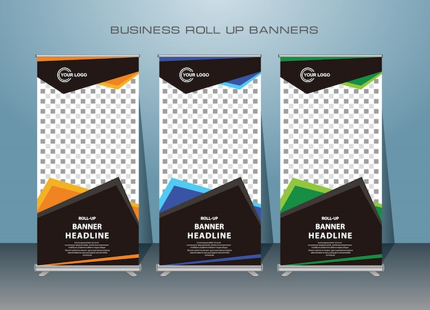 Banner de roll up moderno criativo