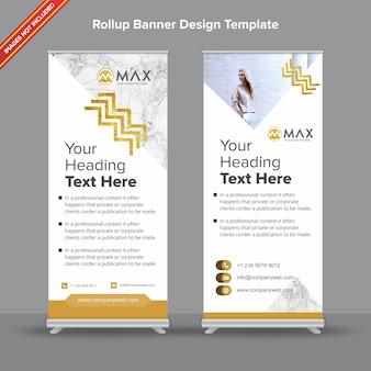 Banner de rollup branco e dourado em mármore