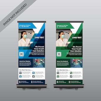 Banner de rollup médico de cuidados de saúde