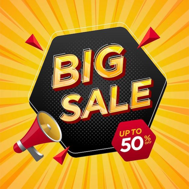 Banner de rótulo de promoção grande venda