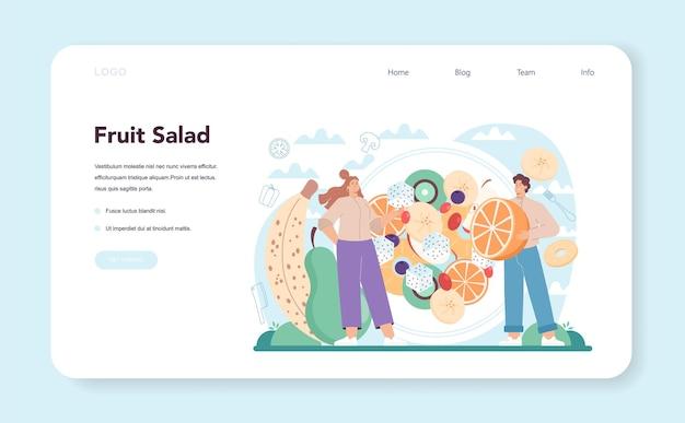 Banner de salada fresca ou página de destino para pessoas cozinhando orgânica