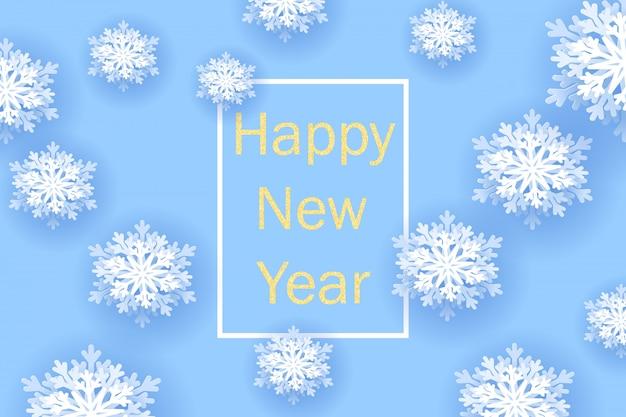 Banner de saudação de ano novo com flocos de neve
