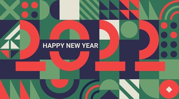 Banner de saudação de ano novo de feriado de 2022 com números de linhas em fundo geométrico com lugar para texto. modelo para cartão, convite, panfleto, web, capa e calendário. ilustração em vetor.