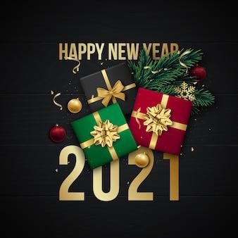 Banner de saudação de feliz ano novo