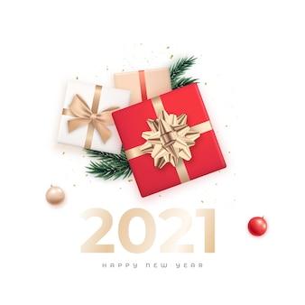Banner de saudação de feliz ano novo.