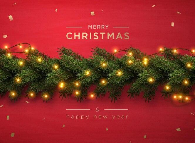 Banner de saudação de feliz natal com galhos de pinheiro de decoração de natal e confetes, ilustração vetorial.