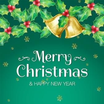 Banner de saudação de feliz natal e feliz ano novo decorado com guirlandas de azevinho e sinos dourados sobre fundo verde