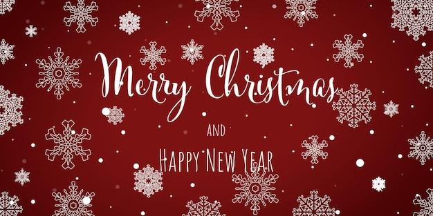 Banner de saudação de floco de neve de inverno com fundo vermelho cartão de design de convite de feliz natal