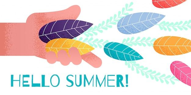 Banner de saudação de verão com mão humana jogando folhas
