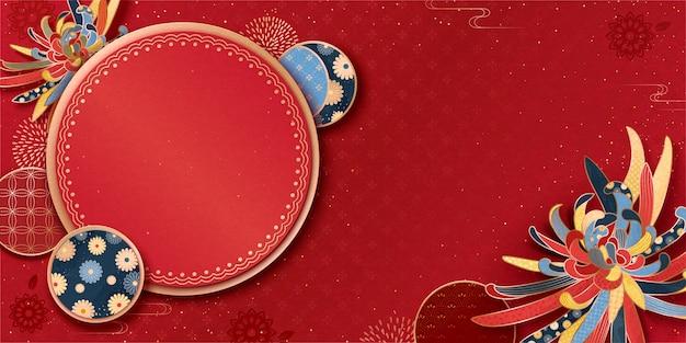 Banner de saudação do ano lunar com crisântemo e padrões tradicionais em fundo vermelho