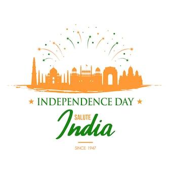 Banner de saudação do dia da independência da índia