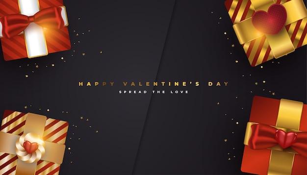 Banner de saudação do dia dos namorados com caixas de presente realistas em vermelho e dourado e confetes dourados brilhantes