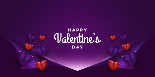 Banner de saudação do dia dos namorados com corações 3d e fundo de papel de embrulho aberto