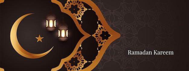 Banner de saudação do festival islâmico ramadan kareem
