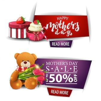 Banner de saudação e desconto para o dia das mães com um botão