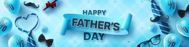 Banner de saudações de comemoração de dia dos pais feliz