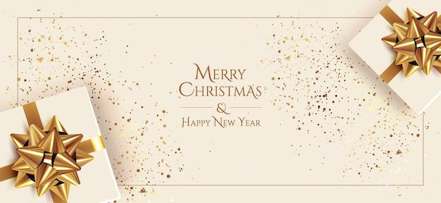 Banner de saudações de feliz natal e feliz ano novo