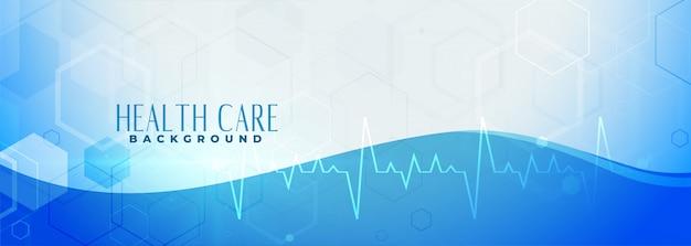 Banner de saúde azul com linha de batimento cardíaco
