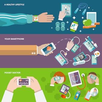 Banner de saúde digital com composição de elementos