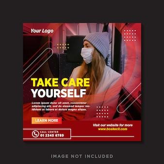 Banner de saúde médico sobre o covid-19 coronavírus, modelo de banner de postagem de instagram de mídia social