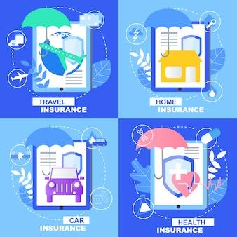 Banner de seguro de viagem de carro saúde casa conjunto com sinal de guarda-chuva de escudo