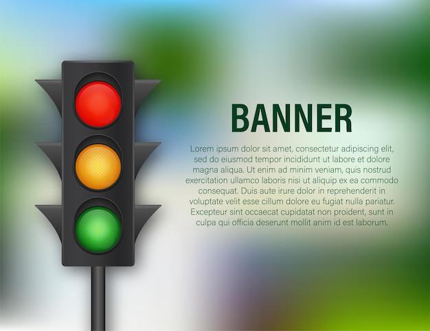 Banner de semáforos em fundo azul. ilustração em vetor das ações.