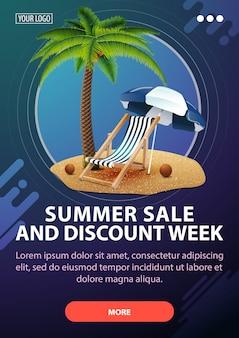 Banner de semana de venda e desconto de verão