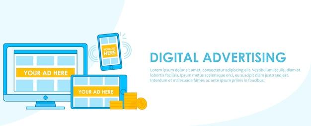 Banner de seo de publicidade digital. computador, telefone e tablet com design adaptativo com anúncios