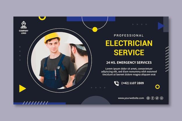 Banner de serviço de eletricista