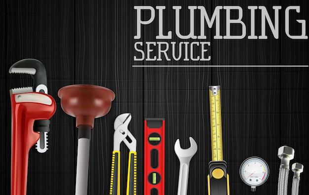 Banner de serviço de encanamento com conjunto de ferramentas de reparação de encanamento