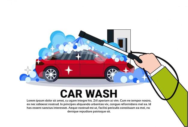 Banner de serviço de lavagem de carro com veículo de limpeza de mão