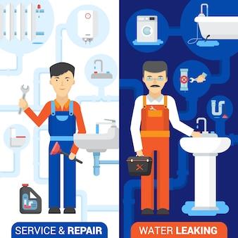 Banner de serviço de reparação de encanador