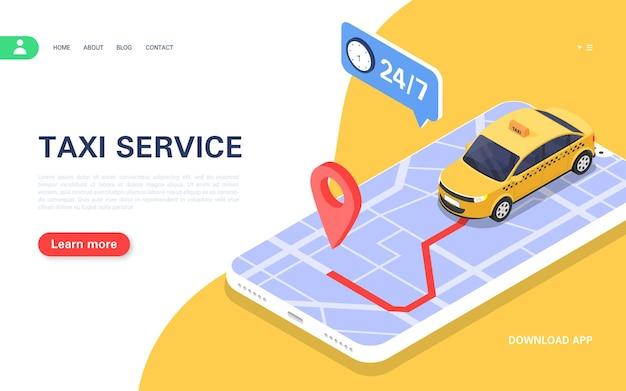 Banner de serviço de táxi. aplicativo móvel para pedidos de táxi on-line 24 horas por dia. ilustração isométrica do vetor.