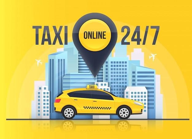 Banner de serviço on-line de táxi