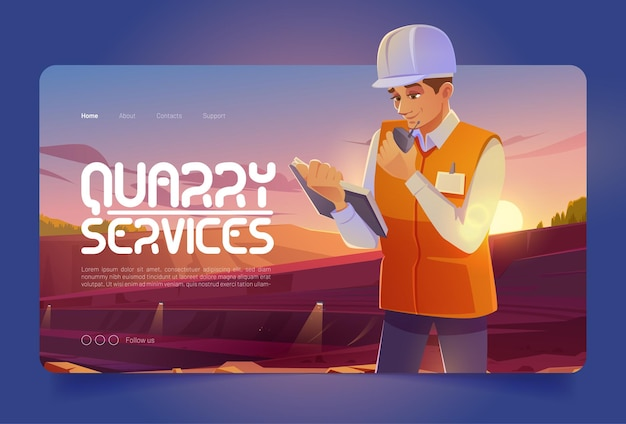 Banner de serviços de pedreira com homem no capacete