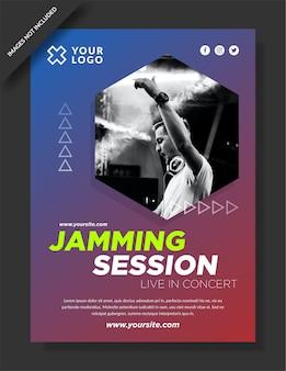 Banner de sessão de jamming e postagem em mídia social