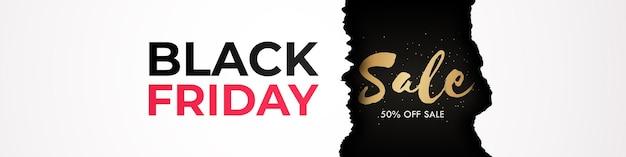 Banner de sexta-feira negra com efeito de papel rasgado