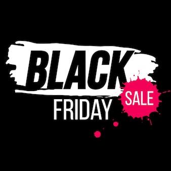 Banner de sexta-feira negra com respingos de tinta. fundo preto sexta-feira para promoção. modelo de venda da black friday.