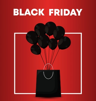 Banner de sexta-feira negra com saco de compras e balões de ar