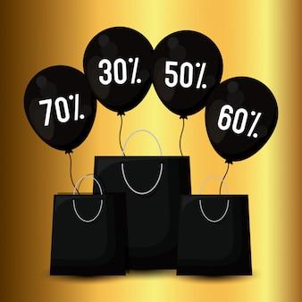 Banner de sexta-feira negra com sacos de compras e balões de ar