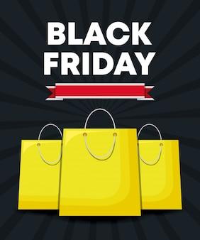 Banner de sexta-feira negra com sacos de compras