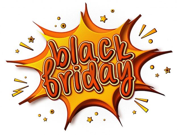 Banner de sexta-feira preta com estilo cômico de desenho animado